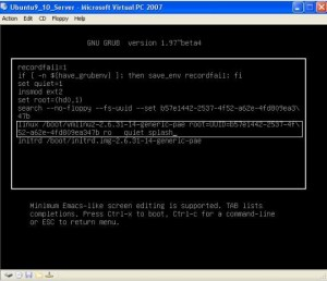 Move to the end of linux /boot/vmlinuz-2.6.31... line with arrow key