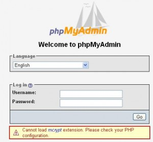 phpMyAdmin Cannot load mcrypt extension.