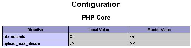 PHP Upload Settings in PHPInfo.php