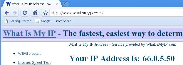 Visit www.whatismyip.com to see your computer's public address