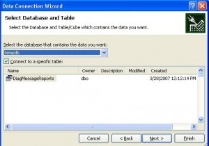 Select Database and Table to Import