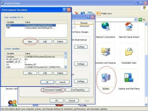 Setup Environment Variables in Control Panel