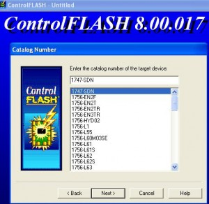 Launch ControlFlash and Select 1747-SDN