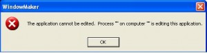 Application Cannot be Edit Error