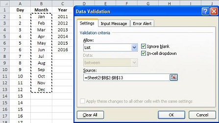 003 - Select List in Data Validation