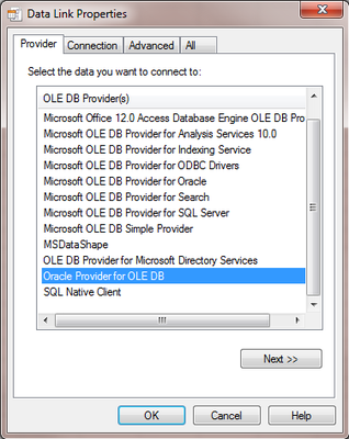 03 - Select Oracle Provider for OLE DB
